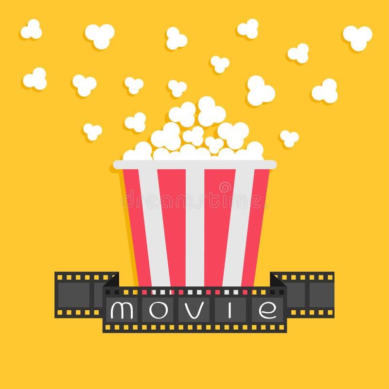 popcorn Filmstreifenband Roter gelber Kasten Kinofilmnachtikone in der flachen Designart Gelber Hintergrund vektor abbildung