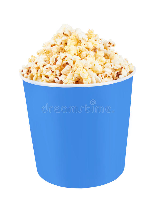 Popcorn. Full bucket of popcorn. Isolated on white stock images