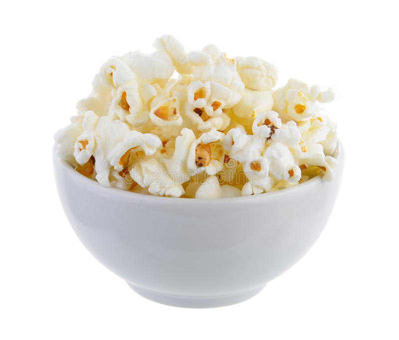 Popcorn in geïsoleerde kom stock foto's