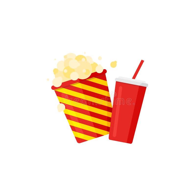 Popcorn gjord randig hink och sodavatten med sugrör Biosymbolsuppsättning royaltyfri illustrationer