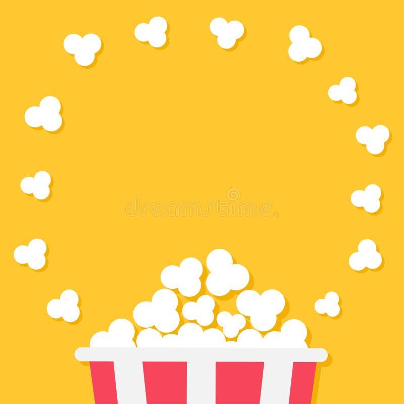 Popcorn het knallen Rode gele strookdoos De nachtpictogram van de bioskoopfilm in vlakke ontwerpstijl Het ronde kader van de cirk stock illustratie