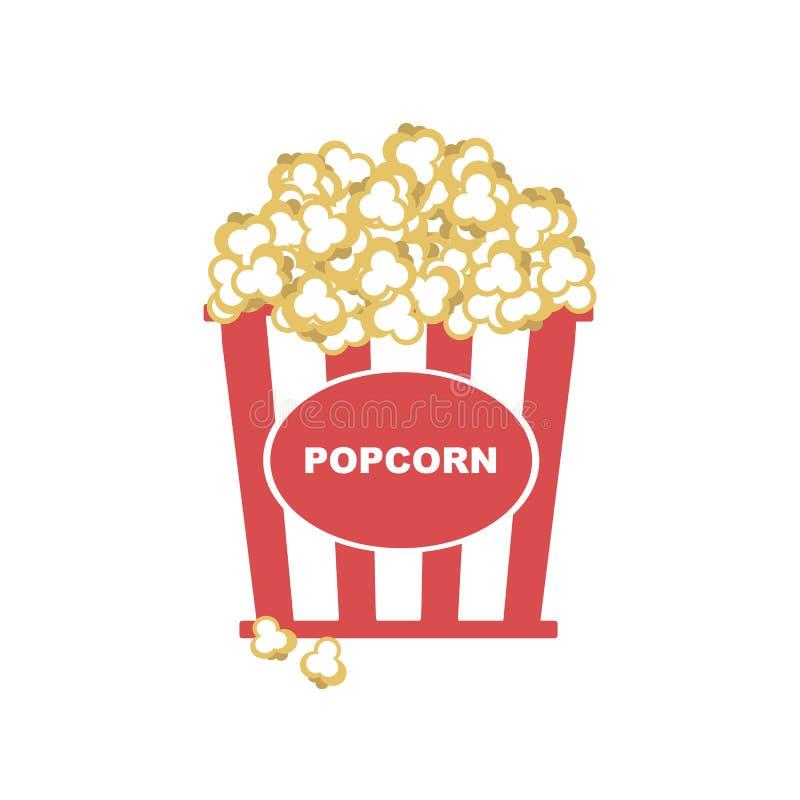 Popcorn i ask med den röda remsasymbolen vektor illustrationer