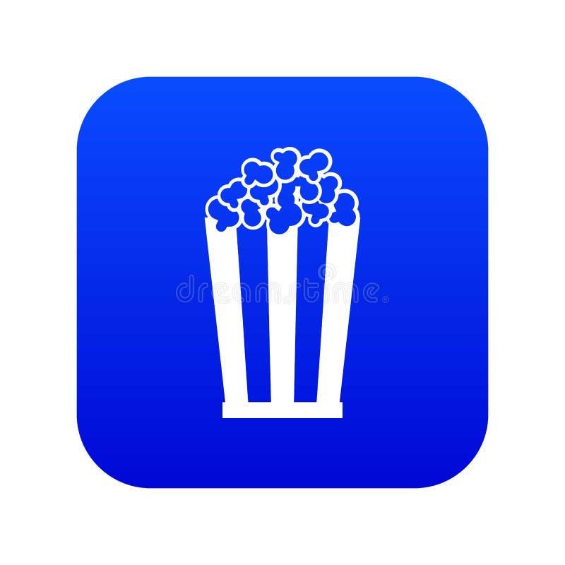 Popcorn i digitala blått för randig hinksymbol vektor illustrationer