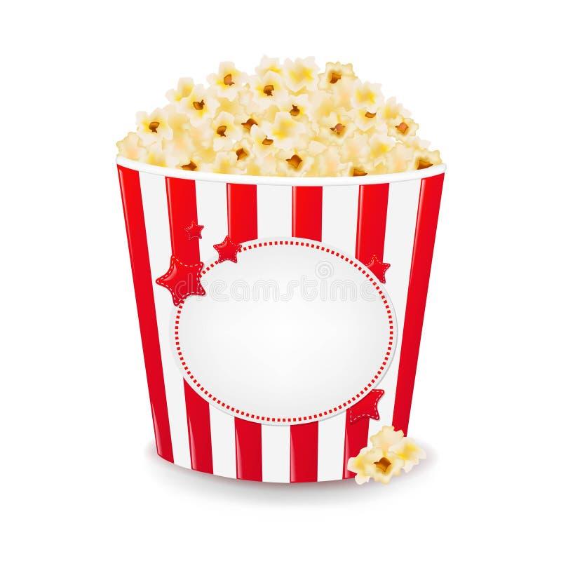 Popcorn i kartong vektor illustrationer