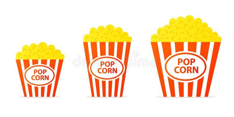 Popcorn i randig hinksymbol royaltyfri illustrationer