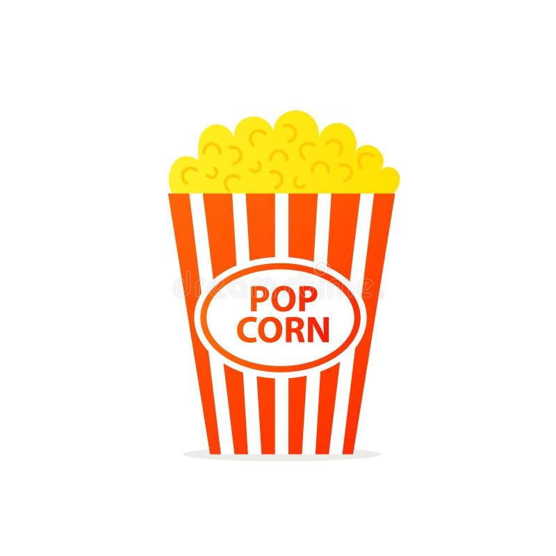 Popcorn i randig hinksymbol stock illustrationer