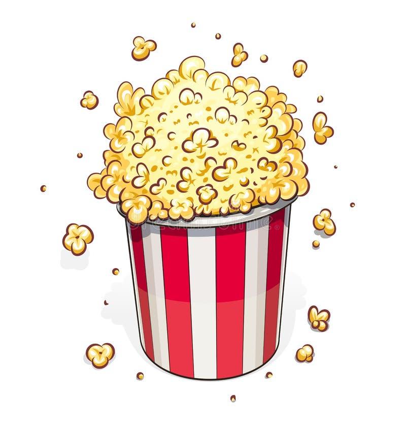 Popcorn i randig korg stock illustrationer