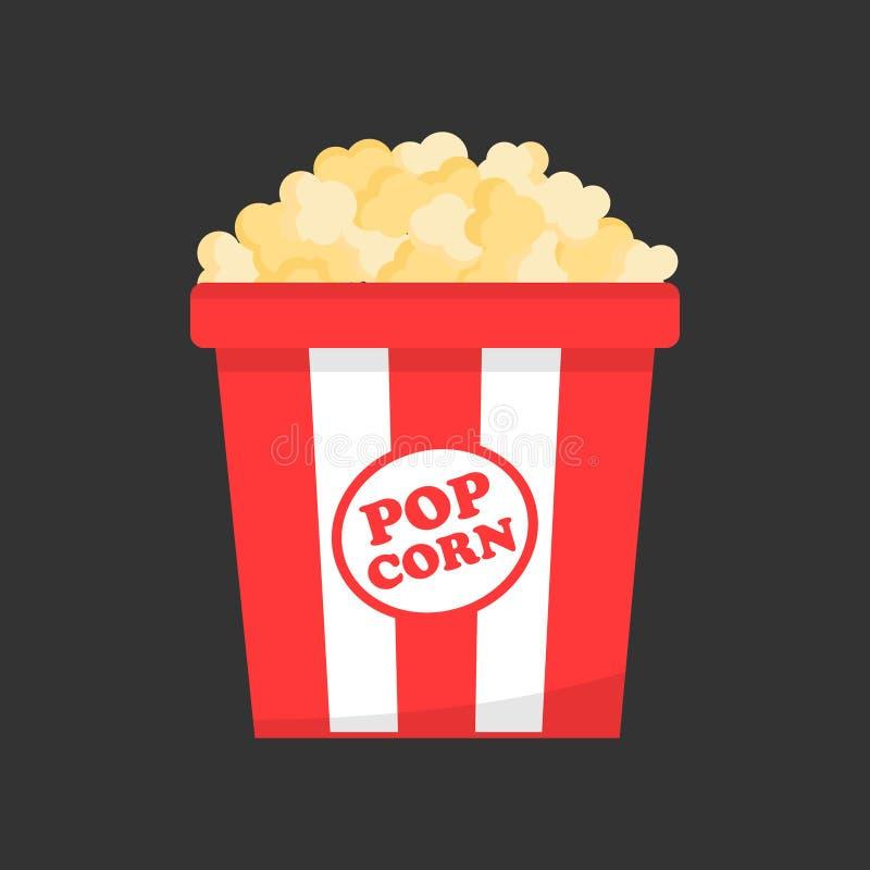 Popcorn i vektorsymbol för pappers- ask stock illustrationer