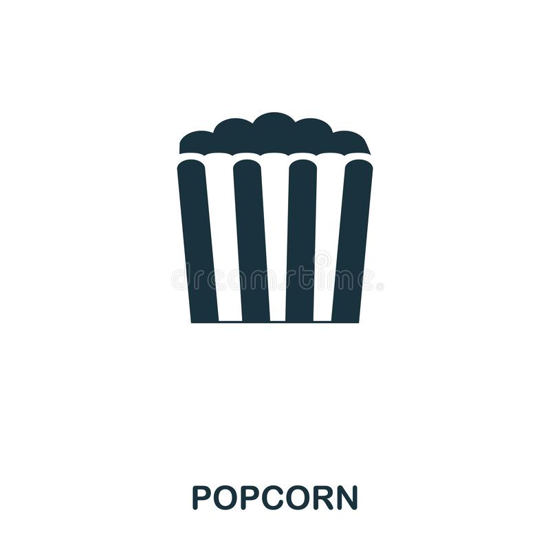 Popcorn icon. Mobile apps, printing and more usage. Simple element sing. Monochrome Popcorn icon illustration. Popcorn icon. Mobile apps, printing and more royalty free illustration