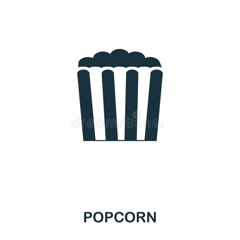 Popcorn icon. Mobile apps, printing and more usage. Simple element sing. Monochrome Popcorn icon illustration. Popcorn icon. Mobile apps, printing and more stock illustration