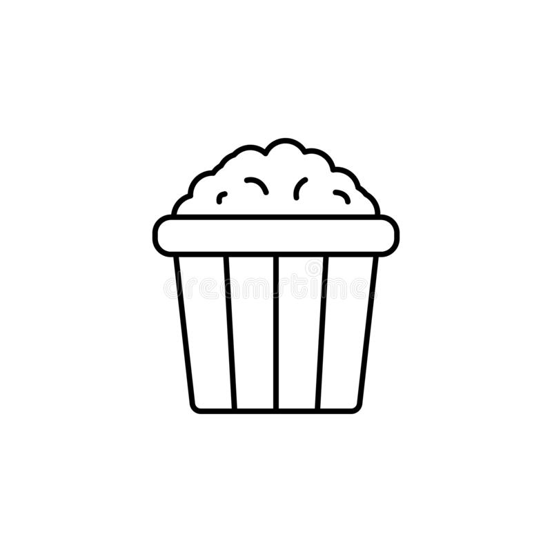 Popcorn icon. Simple thin line, outline  of Amusement icons for UI and UX, website or mobile application. On white background vector illustration