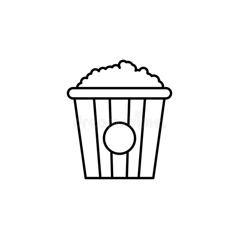 Popcorn icon. Simple thin line, outline vector of movie, cinema, film, screen, flicks icons for UI and UX, website or mobile. Application on white background stock illustration