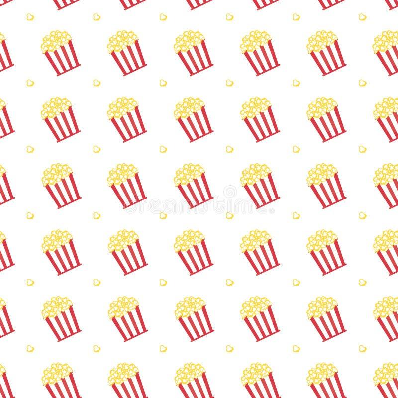 Popcorn im Kasten mit roter Streifenikone vektor abbildung