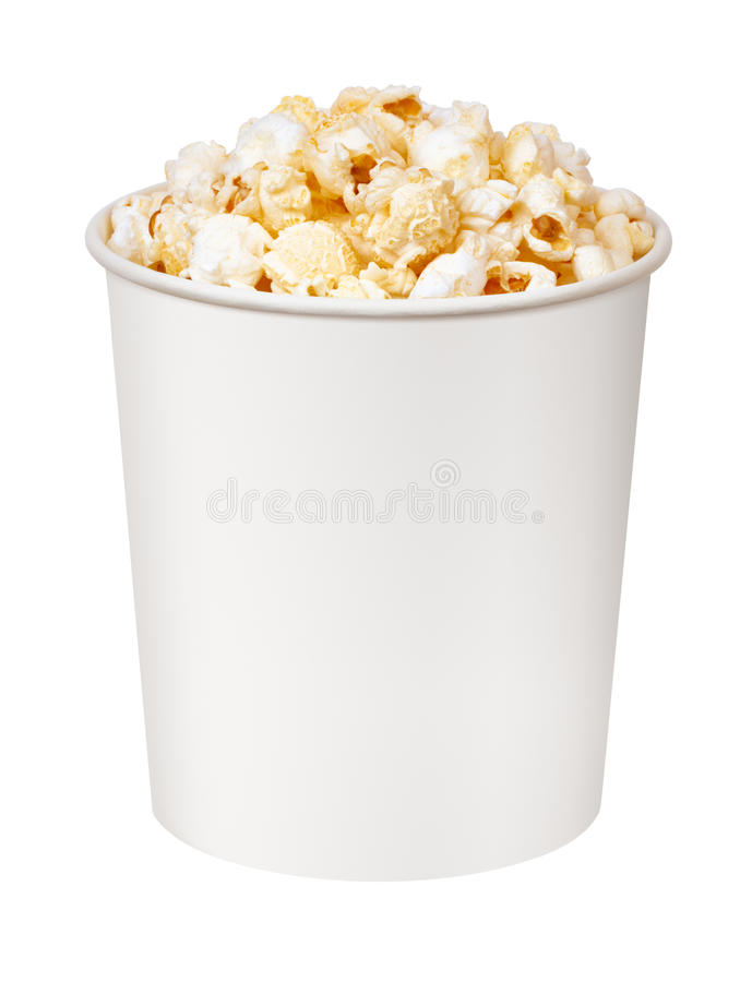 Popcorn im Pappeimer stockfotos