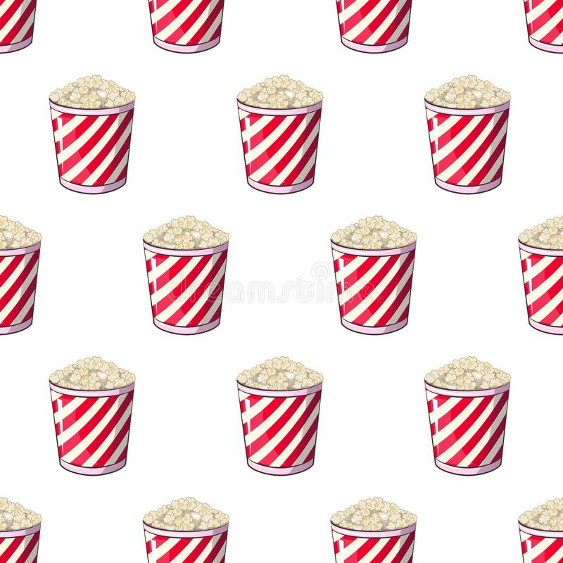 Popcorn is isolated in a strip wrapper box for your produce, an appetizer bucket when you watch movies. Pattern stock illustration