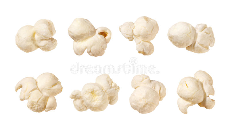 Popcorn isolated on white. Popcorn isolated on a white background. Each shot separately. Isolation is on a transparent layer in the PNG format