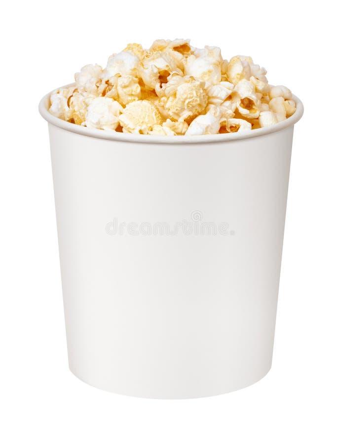 Popcorn in kartonemmer stock foto's