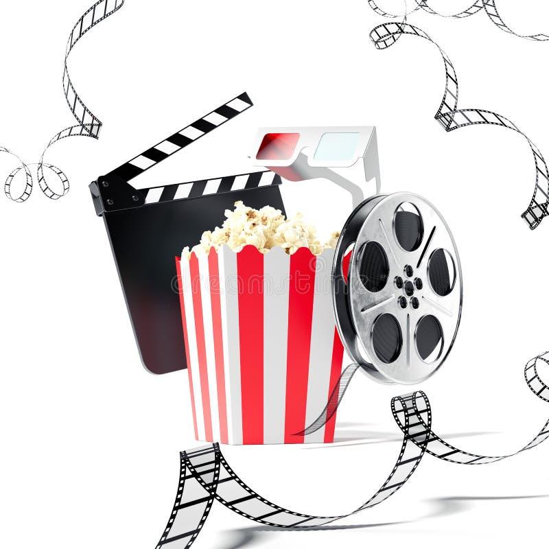 Popcorn, Klatschenfilm und Filmrolle Wiedergabe 3d stock abbildung