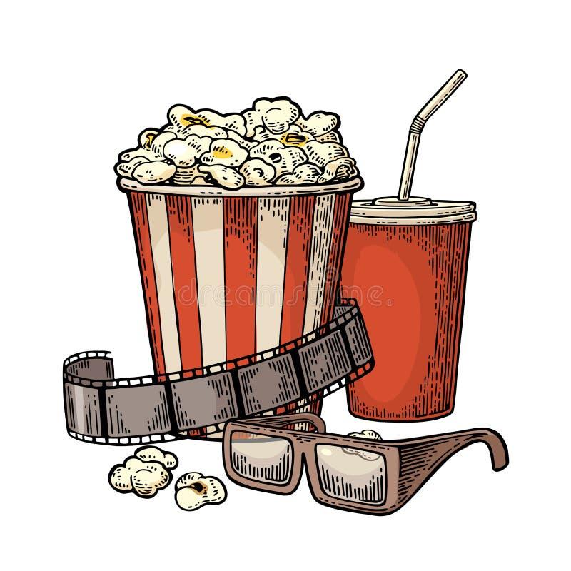 Popcorn, kopp för drycker med sugrör, filmremsa och exponeringsglas 3D för bio stock illustrationer