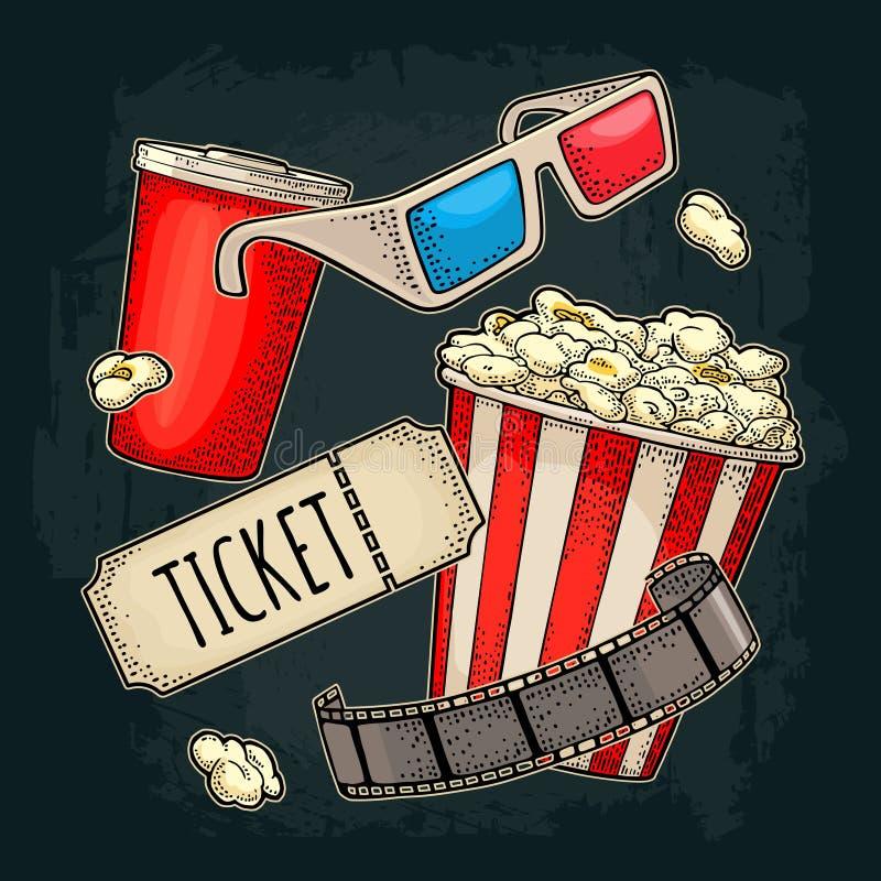 Popcorn kopp med sugrör, tiket, filmremsa, bio för exponeringsglas 3D vektor illustrationer