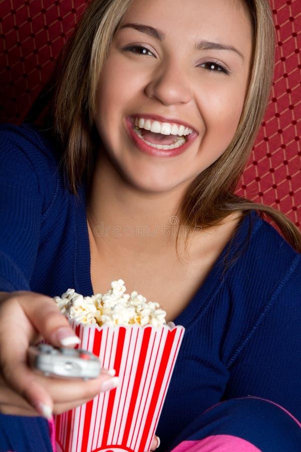 Popcorn-Mädchen lizenzfreie stockfotografie