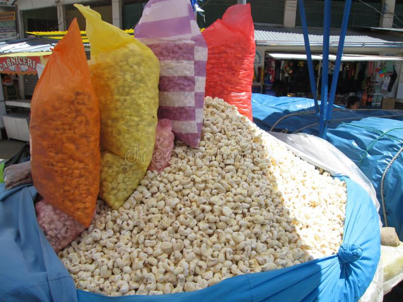 Popcorn in a Market in Bolivia royalty free stock photos
