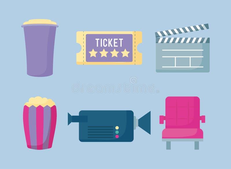 Popcorn med fastställda symboler av bion stock illustrationer