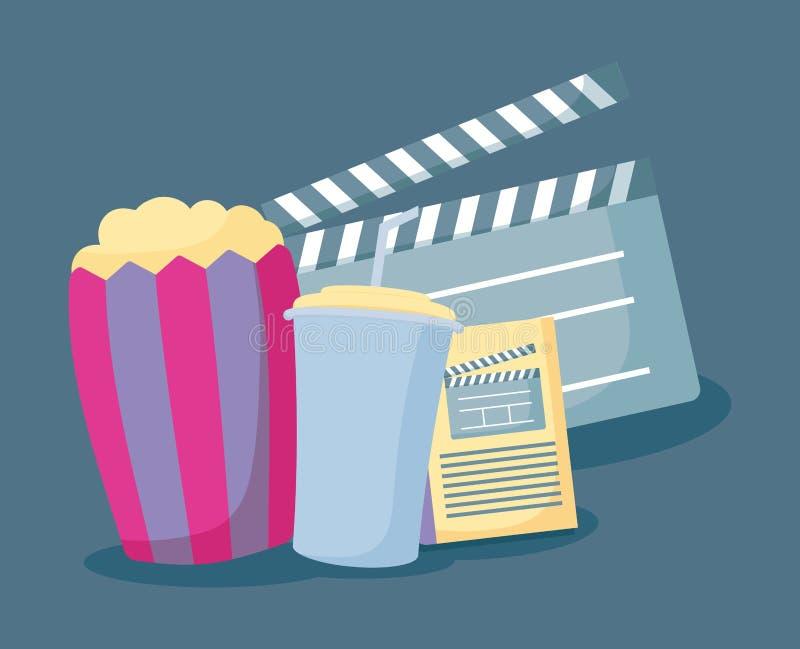 Popcorn med fastställda symboler av bion vektor illustrationer