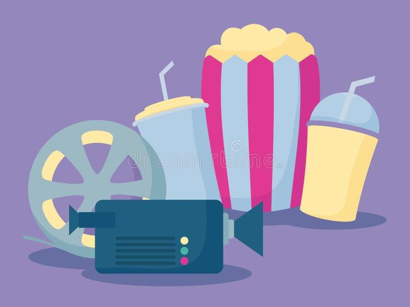 Popcorn med fastställda symboler av bion royaltyfri illustrationer