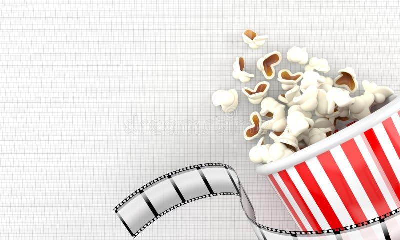 Popcorn med filmremsan royaltyfri illustrationer