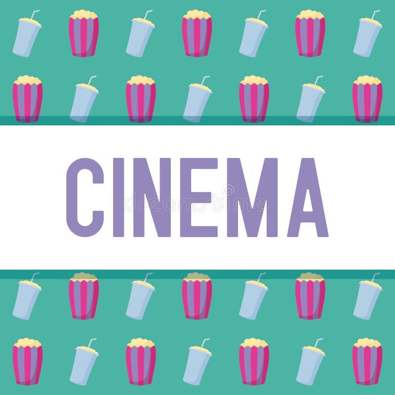 Popcorn med flaskan av drinkmodellen royaltyfri illustrationer