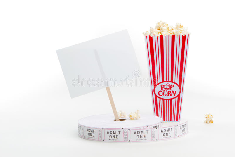 Download Popcorn, Movie Tickets And A Sign Stock Photo - Image: 16419848