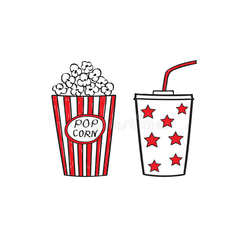Popcorn och drink royaltyfri illustrationer