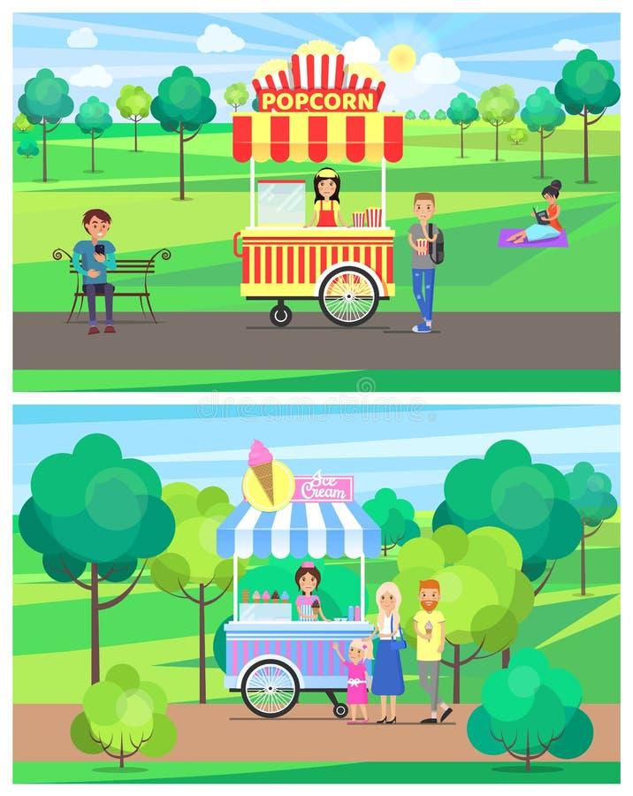 Popcorn- och glassskåpbilar i grön sommar parkerar royaltyfri illustrationer