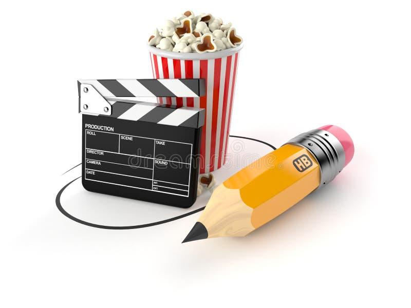 Popcorn och panelbräda med blyertspennan vektor illustrationer
