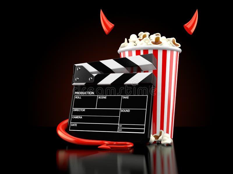 Popcorn och panelbräda med den jäkelhorn och svansen royaltyfri illustrationer