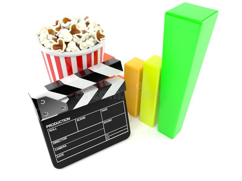 Popcorn och panelbräda med diagrammet royaltyfri illustrationer