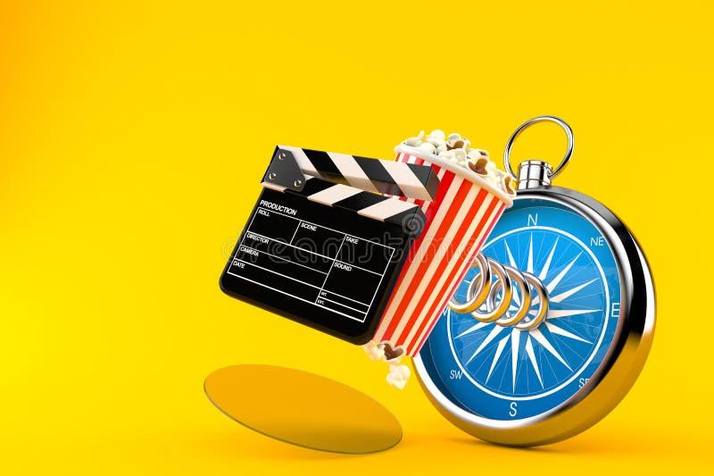 Popcorn och panelbräda med kompasset vektor illustrationer