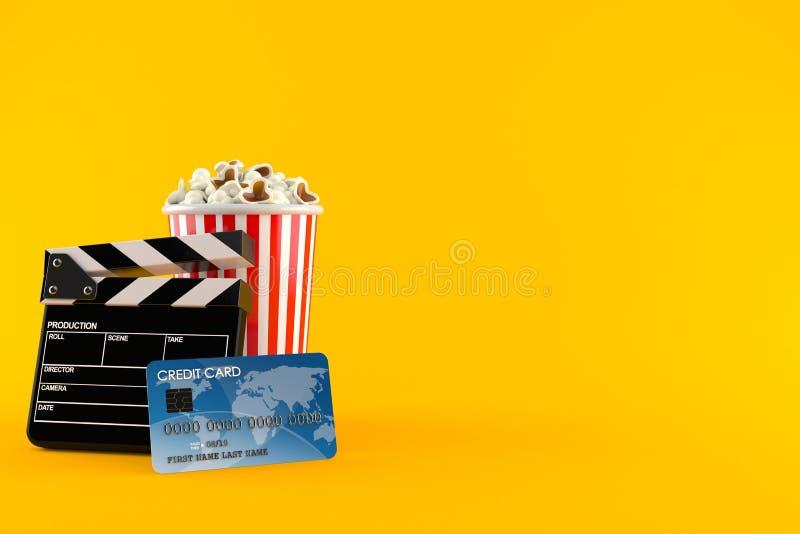 Popcorn och panelbräda med kreditkorten stock illustrationer