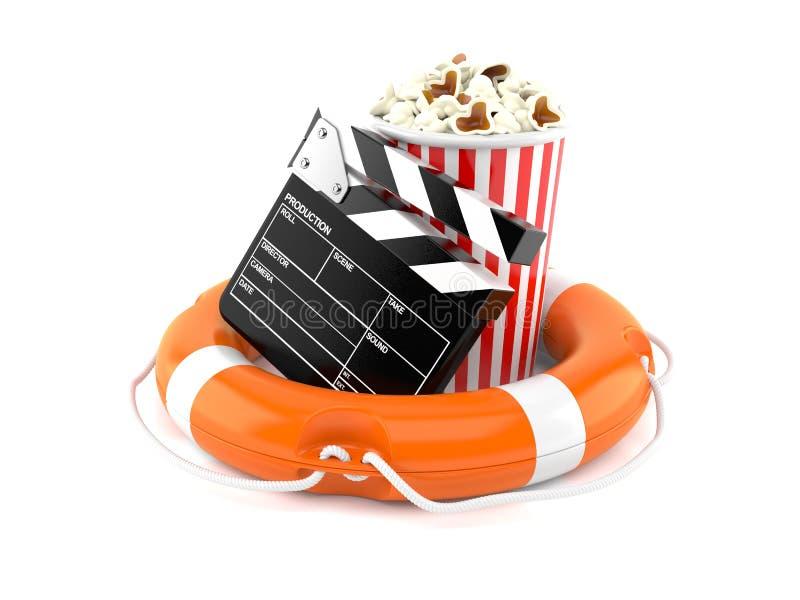 Popcorn och panelbräda med livbojet stock illustrationer
