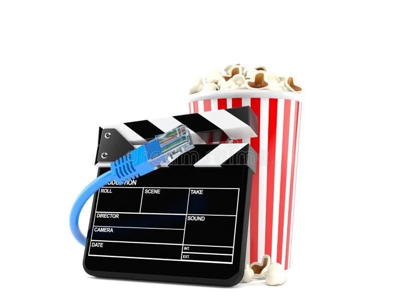 Popcorn och panelbräda med nätverkskabel vektor illustrationer