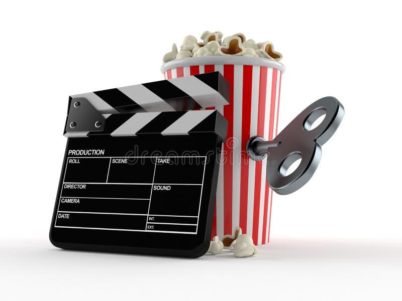 Popcorn och panelbräda med urverktangent stock illustrationer