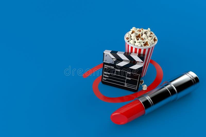 Popcorn och panelbräda som väljs med läppstift vektor illustrationer