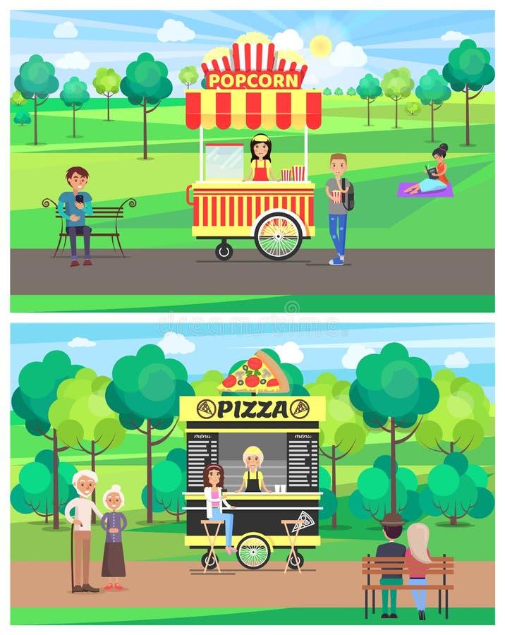 Popcorn och pizza shoppar i gräsplan parkerar färgbanret vektor illustrationer