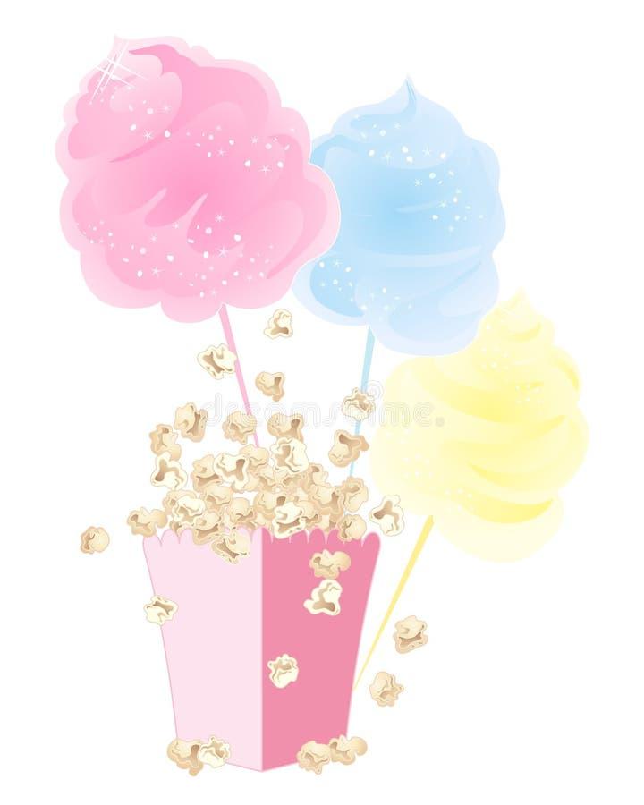 Popcorn och sockervadd vektor illustrationer