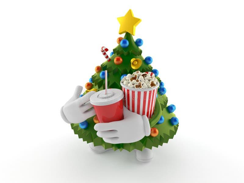Popcorn och sodavatten för julgrantecken hållande royaltyfri illustrationer