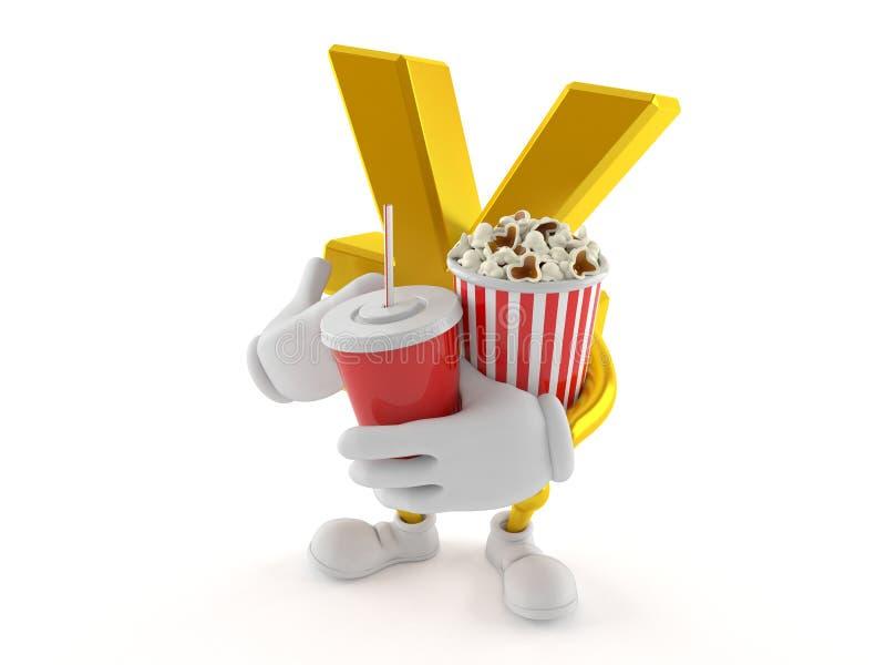Popcorn och sodavatten för yentecken hållande royaltyfri illustrationer
