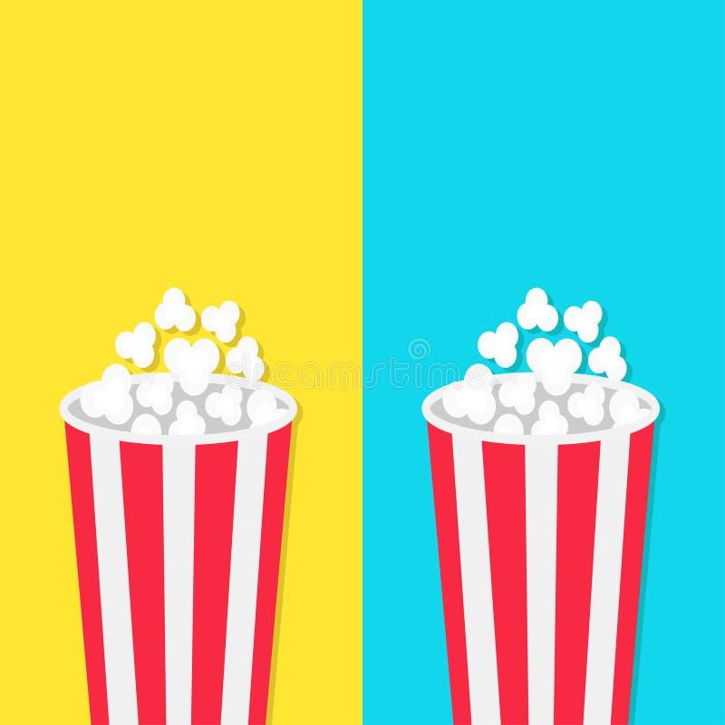 Popcorn om de reeks van de emmerdoos Het pictogram van de filmbioskoop in vlakke ontwerpstijl Het Pop graan knallen Blauw geel ma royalty-vrije illustratie