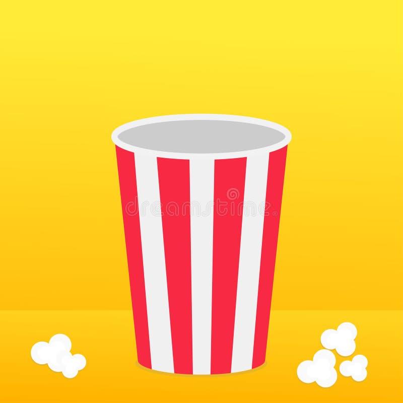 Popcorn om doos die zich op de oppervlakte bevinden Het pictogram van de filmbioskoop in vlakke ontwerpstijl Het Pop graan knalle stock illustratie