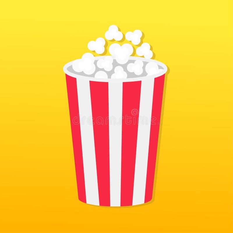 Popcorn om doos Het pictogram van de filmbioskoop in vlakke ontwerpstijl Het Pop graan knallen Gele Gradiëntachtergrond Snel voed royalty-vrije illustratie